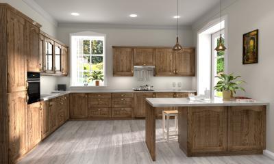 Rusztikus tömörfa konyhabútor - konyha / étkező ötlet