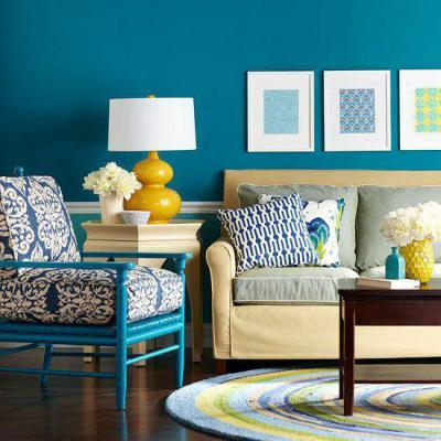 Kék és sárga - nappali ötlet