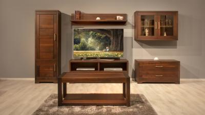Elegáns tömörfa bútorok a nappaliban - nappali ötlet, modern stílusban