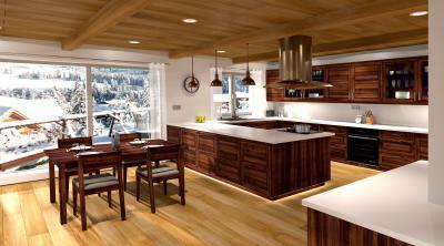Látványos konyha tömörfa bútorokkal - konyha / étkező ötlet, modern stílusban