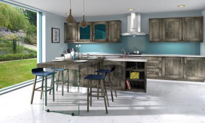 Tömörfa konyhabútor szürke színben - konyha / étkező ötlet