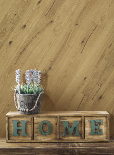 Készparketta a falon - nappali ötlet, rusztikus stílusban