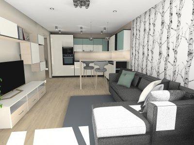 Társasházi lakás nappali-konyha étkező, több funkciós tér - nappali ötlet, modern stílusban