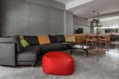 Nappali betonfallal - nappali ötlet, modern stílusban
