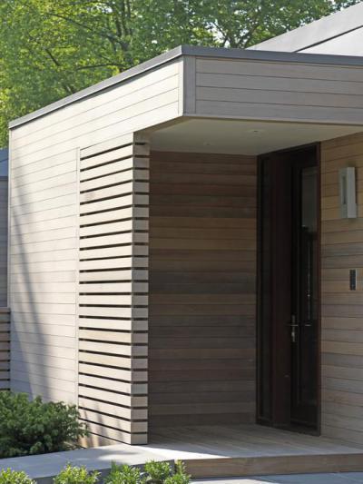 Szélfogó fából - bejárat ötlet, modern stílusban