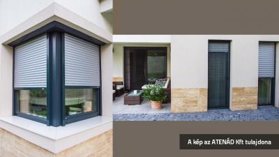 Aluredőny minimál stílusú lakóházon - homlokzat ötlet