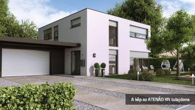 Aluredőny bauhaus stílusú lakóházon - homlokzat ötlet, modern stílusban
