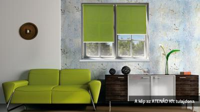 Zöld roletta a nappaliban - nappali ötlet, modern stílusban