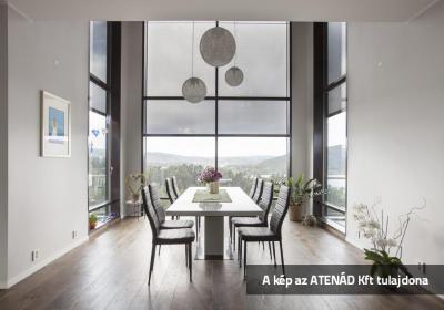 Nagyméretű ablak Fixscreen árnyékolóval - konyha / étkező ötlet, modern stílusban