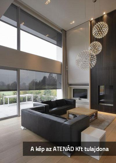Nagyméretű ablakok Fixscreen textilárnyéklóval - nappali ötlet, modern stílusban