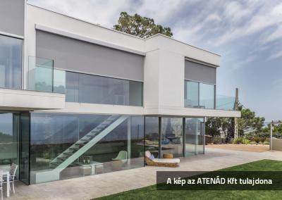 Nagyméretű ablakok Fixscreen árnyékolóval - homlokzat ötlet
