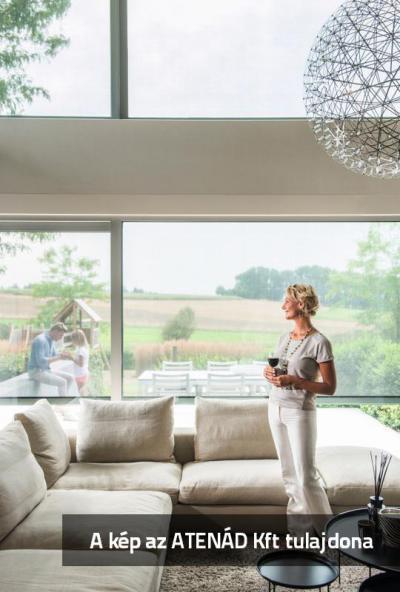 Nagyméretű ablakok Fixscreen árnyékolóval - nappali ötlet, modern stílusban