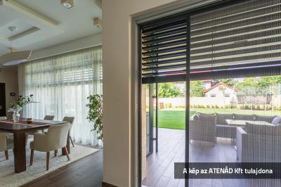 Pliszé szúnyogháló a teraszajtón - nappali ötlet, modern stílusban