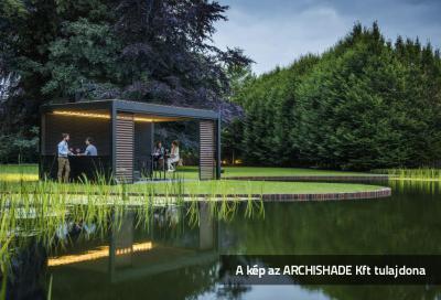Lamellás kerti teraszárnyékoló - kert / udvar ötlet, modern stílusban
