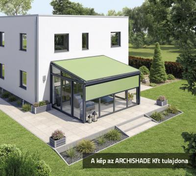Télikert árnyékolóval - erkély / terasz ötlet, modern stílusban