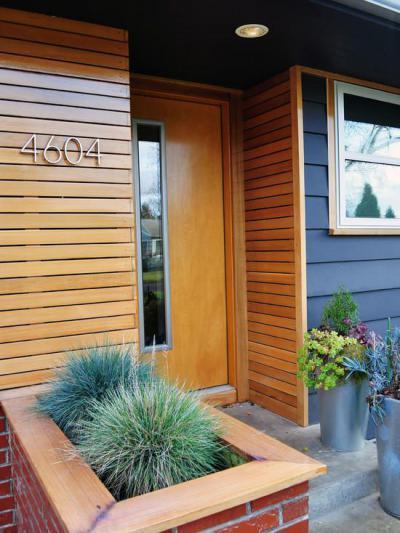 Kék falburkolat - bejárat ötlet, modern stílusban