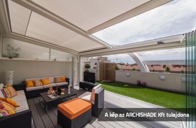 Textil tetős kerti teraszárnyékoló - erkély / terasz ötlet, modern stílusban
