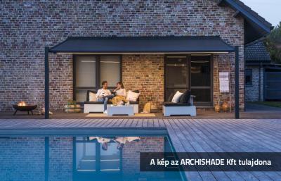 Textil tetős kerti teraszárnyékoló - erkély / terasz ötlet, rusztikus stílusban