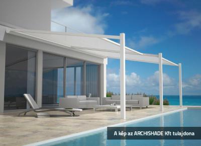 Textil tetős kerti teraszárnyékoló - erkély / terasz ötlet
