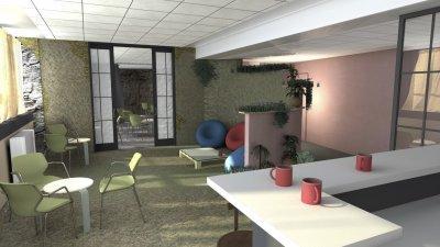 Irodaház közösségi terének terve 1 - konyha / étkező ötlet