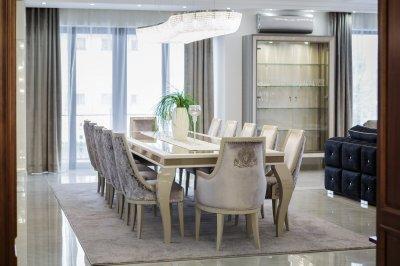 Étkező Wenga designal - nappali ötlet, klasszikus stílusban