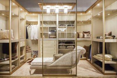 Luxus a gardróbban - háló ötlet, modern stílusban