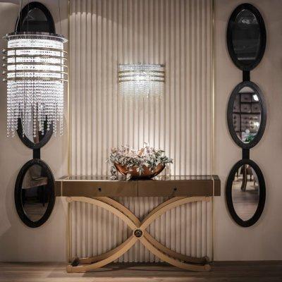 Montefiorino konzolasztal léces falburkolattal - előszoba ötlet, klasszikus stílusban