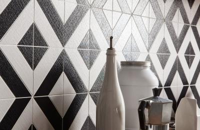 Fekete fehér burkolat - konyha / étkező ötlet, modern stílusban