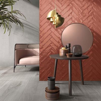 Rózsaszínű falicsempe - nappali ötlet, modern stílusban