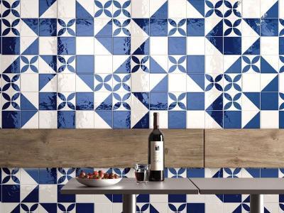 Kék fehér csempe a konyhában - konyha / étkező ötlet