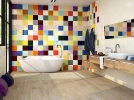 Színes falicsempék a fürdőben - fürdő / WC ötlet, modern stílusban