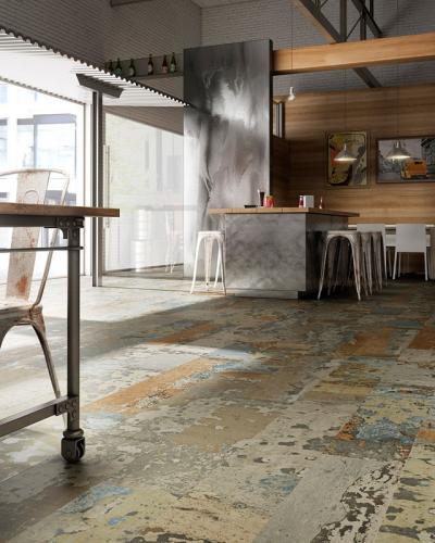 Kopottas hatású padlóburkolat - konyha / étkező ötlet, modern stílusban