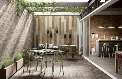 Fahatású burkolat kül- és beltéren - erkély / terasz ötlet, modern stílusban