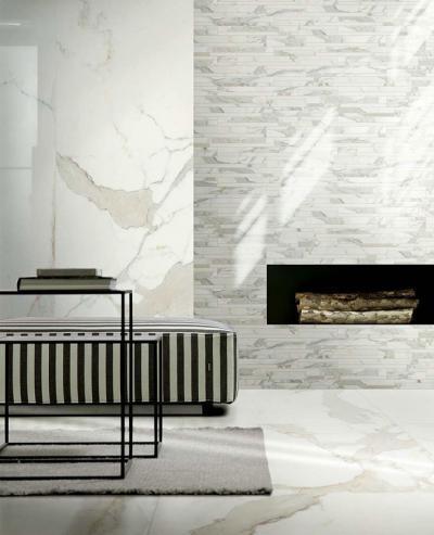 Változatos hidegburkolatok a nappaliban - nappali ötlet, modern stílusban