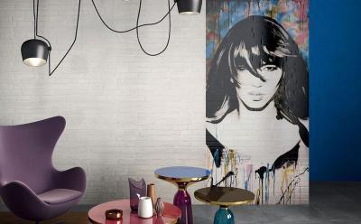 Falikép burkolatból - nappali ötlet, modern stílusban