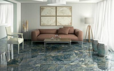 Márványos padlóburkolat - nappali ötlet, modern stílusban