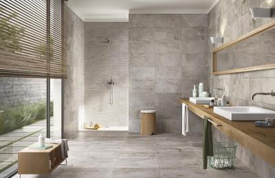 Szürke burkolat a fürdőben - fürdő / WC ötlet