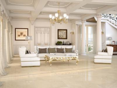 Elegáns nappali hidegburkolattal a padlón - nappali ötlet, klasszikus stílusban