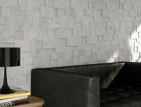 3D hatású falicsempe - nappali ötlet, modern stílusban