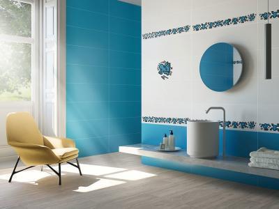 Kék fehér fürdőszoba - fürdő / WC ötlet, modern stílusban