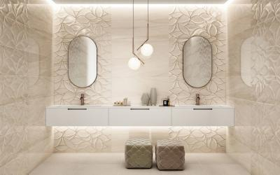 Különleges csempe a fürdőben - fürdő / WC ötlet, modern stílusban