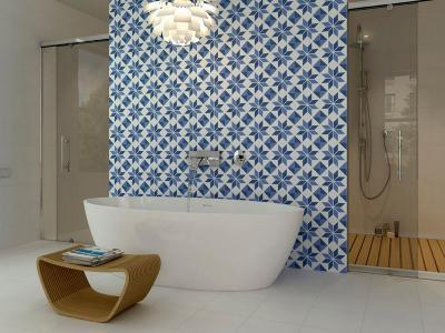 Feltűnő csempe a fürdőben - fürdő / WC ötlet, modern stílusban