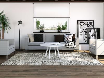Szőnyeghatású hidegburkolat a padlón - nappali ötlet, modern stílusban