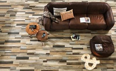 Fahatású hidegburkolat a padlón - nappali ötlet, modern stílusban