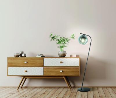 Üvegburás állólámpa - nappali ötlet, modern stílusban