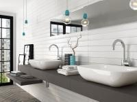 Fehér csempe a fürdőben - fürdő / WC ötlet, modern stílusban