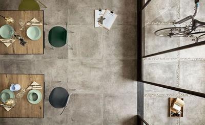Kőhatású padlóburkolat - konyha / étkező ötlet, modern stílusban