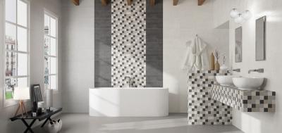 Monokróm burkolatok a fürdőben - fürdő / WC ötlet, modern stílusban