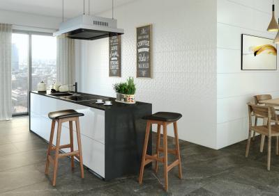 Fekete-fehér burkolatok a konyhában - konyha / étkező ötlet, modern stílusban