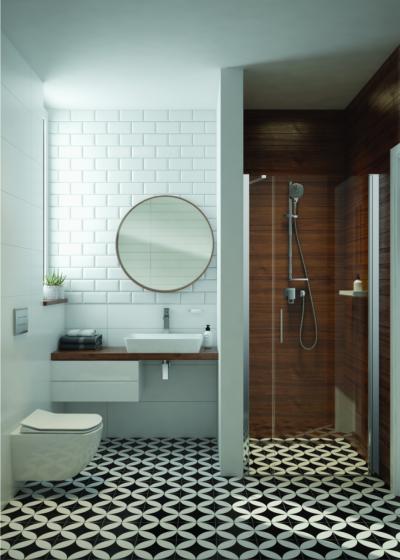 Látványos burkolatok fürdőszobában - fürdő / WC ötlet, modern stílusban